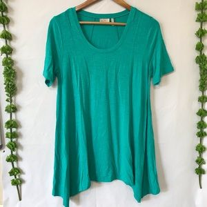 LOGO by Lori Goldstein Teal Green Short Sleeve Top